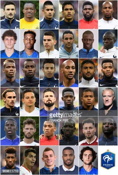 A combination of pictures made on May 17 2018 shows the players named in France's 23man preWorld Cup squad today by French coach Didier Deschamps...