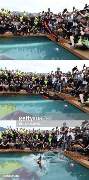 A combination of pictures made on May 27 shows Red Bull Racing's Australian driver Daniel Ricciardo jumping into a pool as he celebrates winning the...