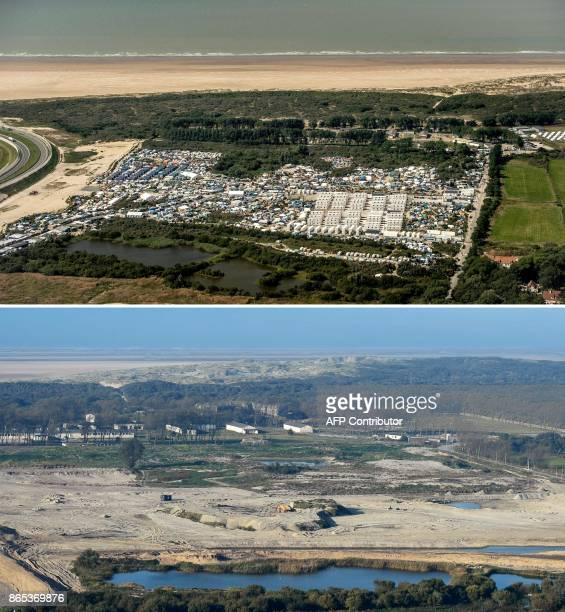 A combination of pictures made on October 23 2017 shows two aerial views of the 'jungle' migrant camp in Calais northern France one taken on August...