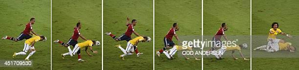 Combination of pictures showing Colombia's defender Juan Camilo Zuniga challenging Brazil's forward Neymar and Brazilian defender Marcelo shouting...
