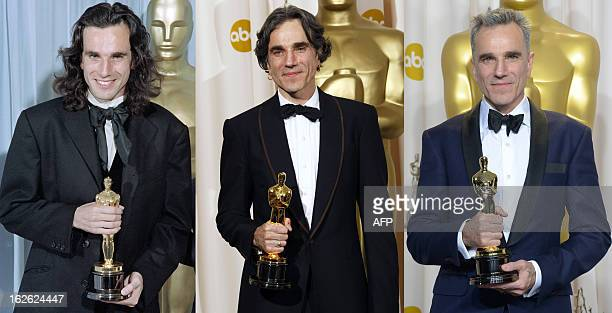 A combination of pictures shows actor Daniel DayLewis posing with his three Oscars for Best Actor in Hollywood California in March 2 1990 for his...