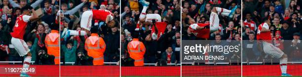 TOPSHOT A combination of pictures shows Arsenal's Gabonese striker PierreEmerick Aubameyang doing a somersault as he celebrates scoring the opening...