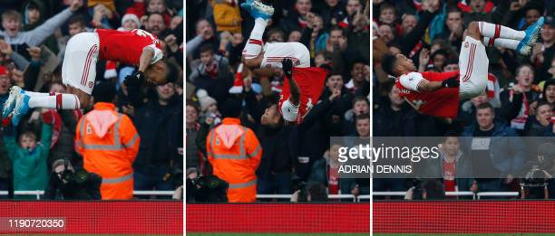 A combination of pictures shows Arsenal's Gabonese striker PierreEmerick Aubameyang doing a somersault as he celebrates scoring the opening goal...