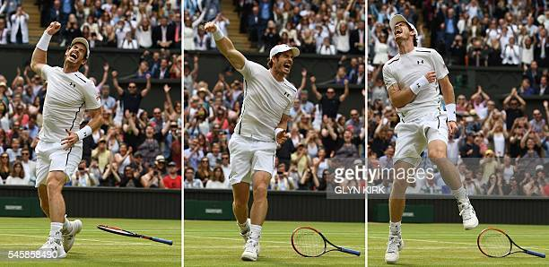 A combination of pictures shows Britain's Andy Murray celebrating beating Canada's Milos Raonic in the men's singles final match on the last day of...
