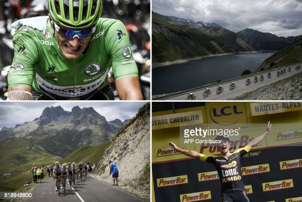 A combination of pictures shows Germany's Marcel Kittel wearing the best sprinter's green jersey injured after falling riding the pack riding past a...