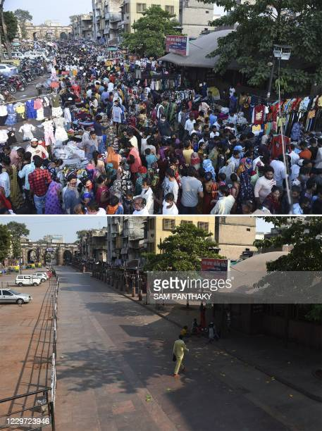 Combination of pictures shows shoppers thronging a market area on November 8, 2020 and the same view of market area partially deserted taken on...