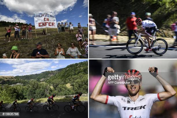 """Combination of pictures shows supporters cheering along the road near a placard reading """"Welcome to Hell"""" ; Netherlands' Bauke Mollema riding in a..."""