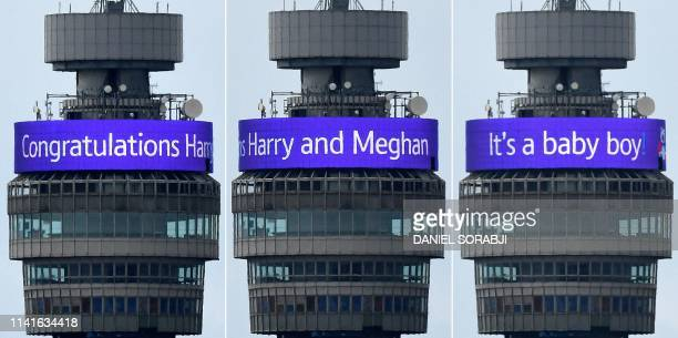 TOPSHOT A combination of pictures shows the congratulatory banner message circling the BT Tower reading Congratulations Harry and Meghan It's a Baby...