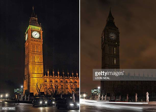 "Combination of pictures shows the Houses of Parliament in central London, moments before the lights are turned off to mark ""Earth Hour"" and as the..."