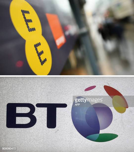 A combination of pictures shows the logo of mobile operator EE is pictured in central London on February 5 2015 and The British Telecom logo pictured...