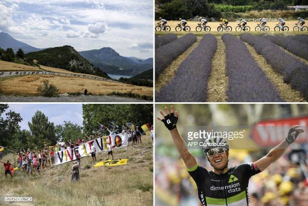 A combination of pictures shows the pack riding Great Britain's Christopher Froome wearing the overall leader's yellow jersey and France's Romain...