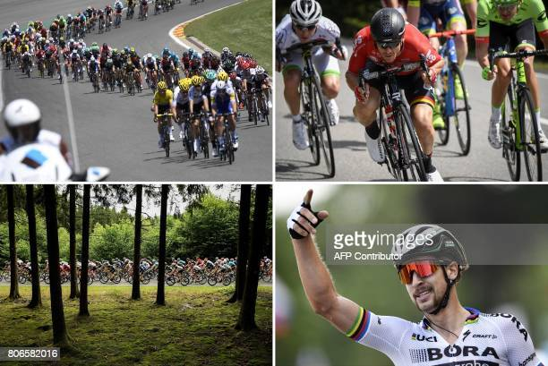 A combination of pictures shows the pack riding on the Circuit de SpaFrancorchamps motorracing circuit France's Romain Hardy Australia's Adam Hansen...