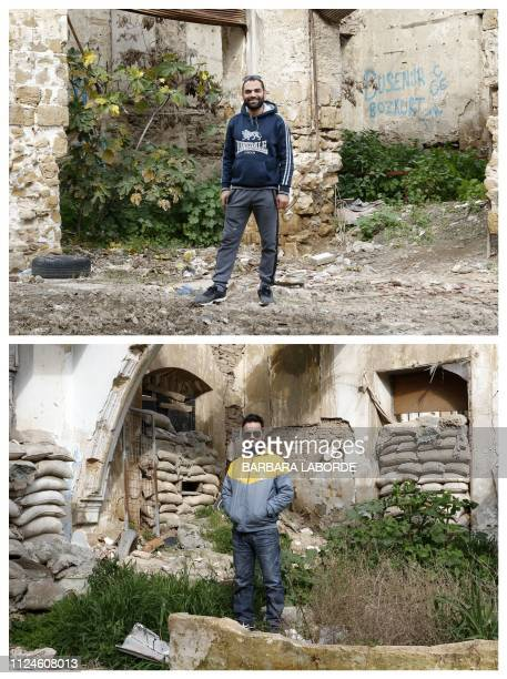 Combination of pictures taken in the divided east Mediterranean island of Cyprus shows Greek-Cypriot Christos Ioannides posing in front of an...
