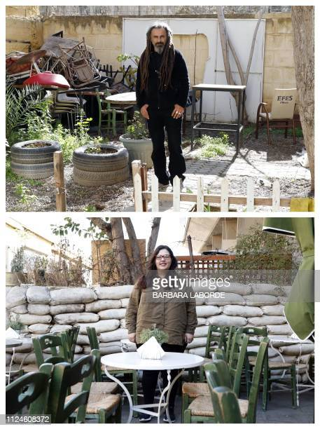 A combination of pictures taken in the divided east Mediterranean island of Cyprus shows GreekCypriot Maria Hadjipanayi posing at a café near Ledra...