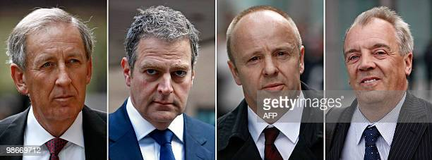 A combination of pictures taken on April 12 shows Alan Burnett former British Airways head of Sales UK and Ireland Andrew Crawley Sales and Marketing...