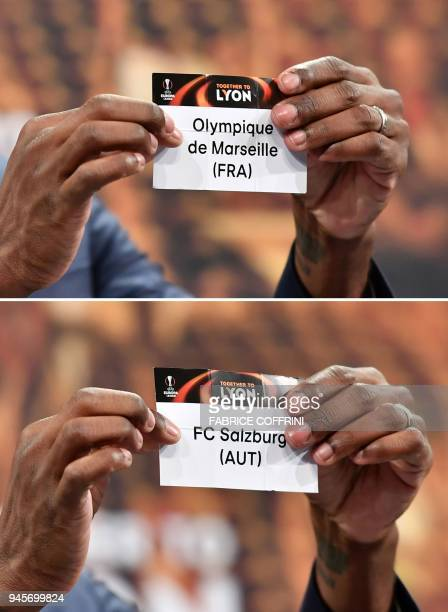 A combination of pictures taken on April 13 2018 shows former French football player and ambassador for the UEFA Europa League final in Lyon Eric...