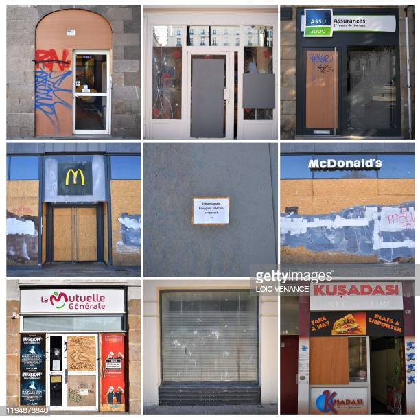 A combination of pictures taken on January 20 shows facades of shops travel agency fast food restaurant insurance phone provider kebab restaurant and...