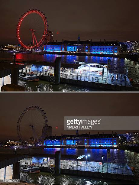 A combination of pictures taken on March 19 in central London shows the London Eye before the lights are turned off and after being submerged into...