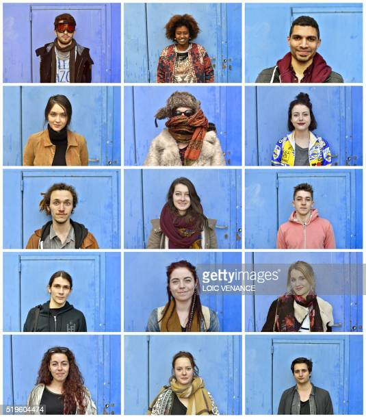 A combination of portraits taken on April 7 2016 shows Florentin student in history Helen student in sociology Jeremy student in sports Catherine...