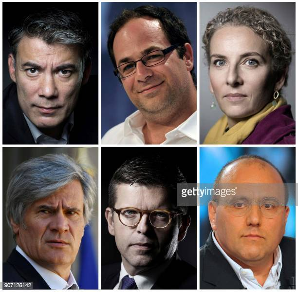 A combination of six pictures made on January 19 2018 shows the six declared candidates for the leadership of French socialist party French MP...
