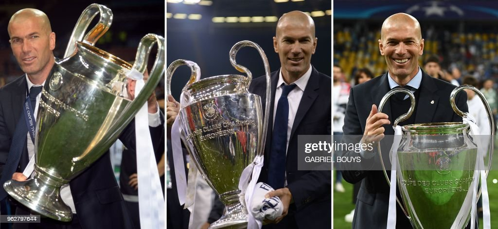 A combination of three file pictures made on May 26, 2018 shows Real Madrid's French coach Zinedine Zidane holding the UEFA Champions League trophy in (From left) 2016, 2017 and 2018. - Real Madrid coach Zinedine Zidane said on May 31, 2018 he was leaving the Spanish giants, just days after winning the Champions League for the third year in a row.