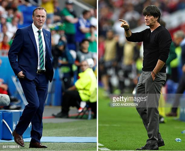 A combination of two file pictures made on June 18 2016 shows Northern Ireland's coach Michael O'Neill at the Parc Olympique Lyonnais stadium in...