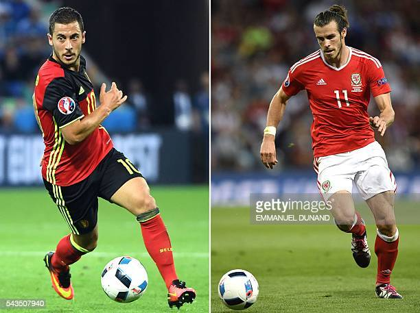 Combination of two file pictures shows Belgium's forward Eden Hazard in Lyon on June 13, 2016 and Wales' forward Gareth Bale in Toulouse on June 20,...