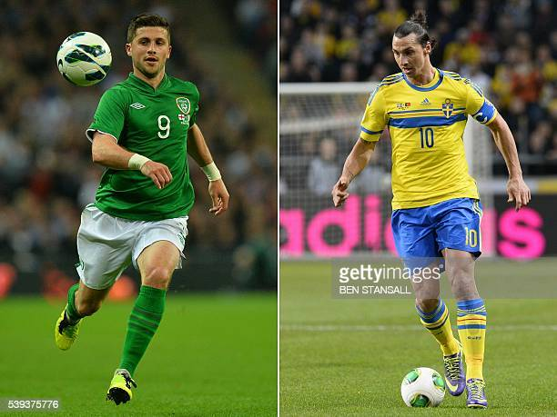 A combination of two file pictures shows Ireland striker Shane Long in north London on May 29 2013 and Sweden's forward Zlatan Ibrahimovic in Solna...