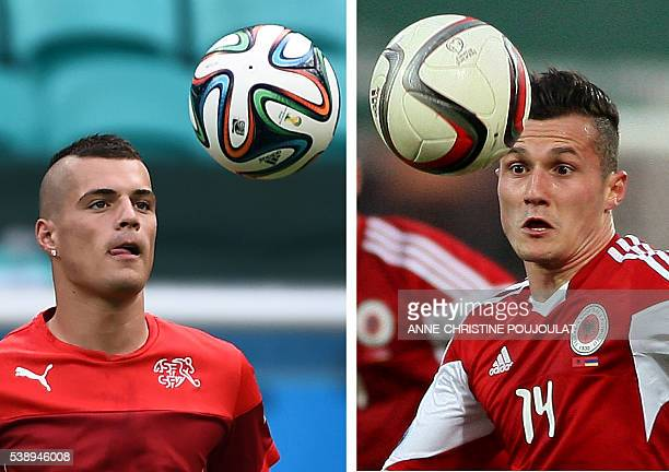 A combination of two file pictures shows Switzerland's midfielder Granit Xhaka in Salvador on June 19 2014 and Albania's Taulant Xhaka in Elbasan on...