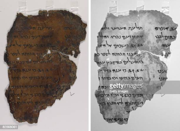A combination of two handout photos provided by the Israeli Antiquities Authority on August 27 shows a colour digital image of a fragment of the Dead...
