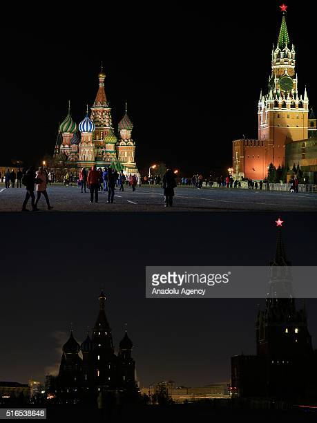 Combination of two photographs shows Saint Basil's Cathedral and Spasskaya Tower before and after its lights were turned off to mark Earth Hour in...
