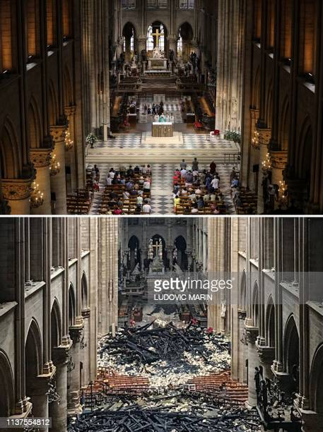 A combination of two pictures made on April 16 2019 shows people attending a mass at the NotreDame de Paris Cathedral in Paris on June 26 2018 and an...