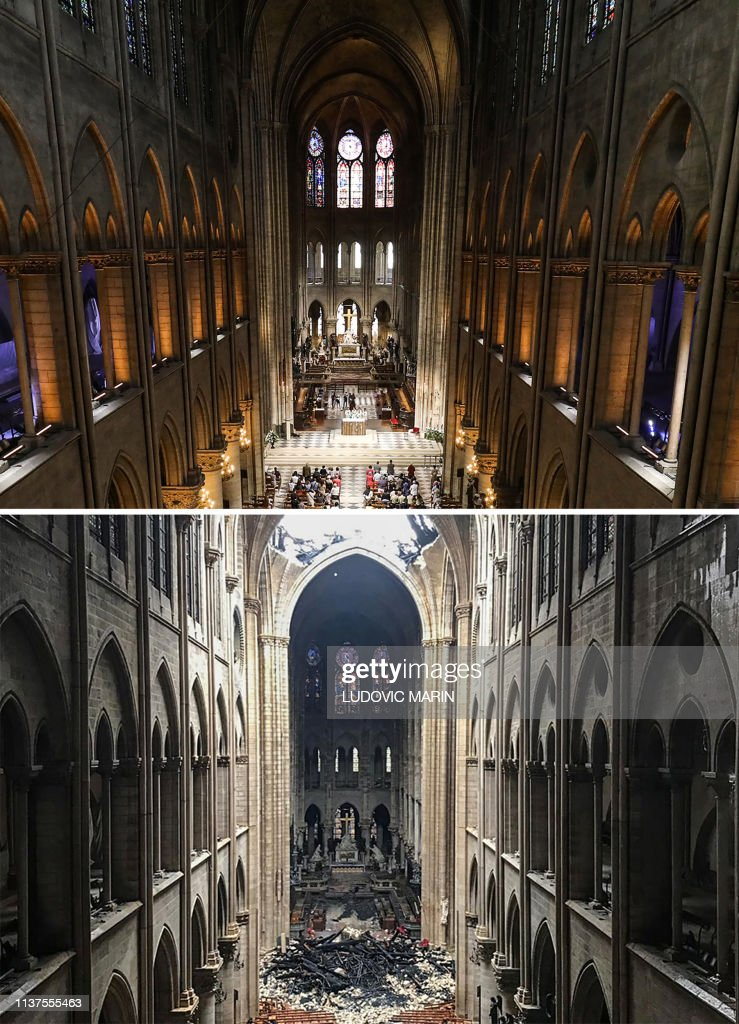 TOPSHOT-FRANCE-FIRE-NOTRE-DAME-COMBO : News Photo