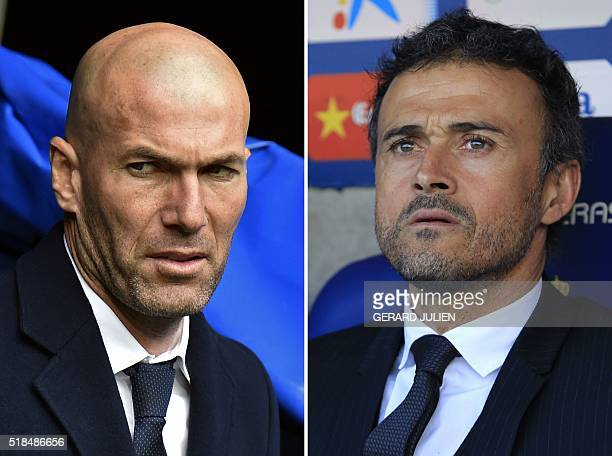 A combination of two pictures made on April 1st 2016 shows Real Madrid's French coach Zinedine Zidane before the Spanish league football match Real...