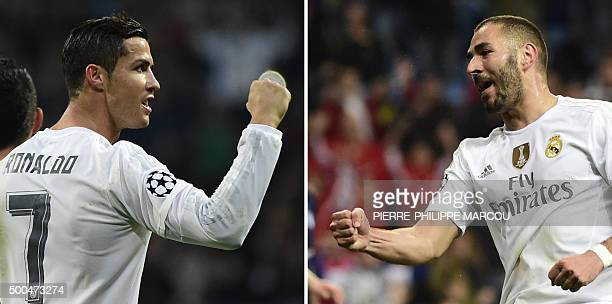 A combination of two pictures taken on December 8 2015 shows Real Madrid's Portuguese forward Cristiano Ronaldo celebrating his first goal and Real...