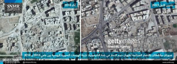 Combination of two satellite images showing the destruction in AlShifoniyah town of besieged Eastern Ghouta as a result of the Assad Regime's attacks...