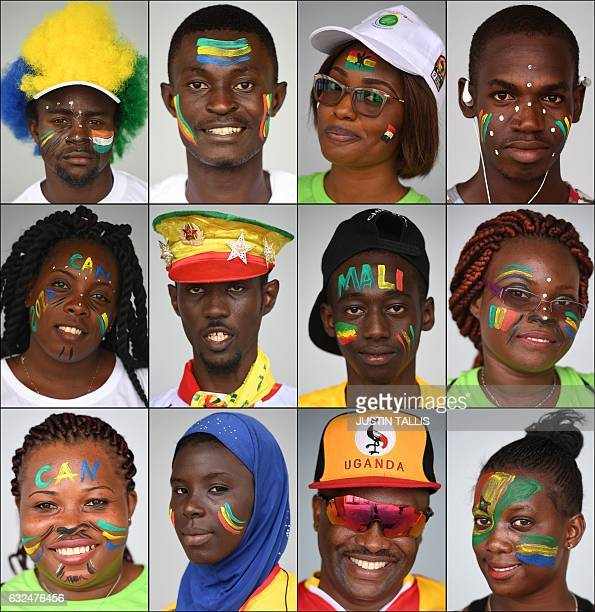 TOPSHOT Combination photo made on 23 January 2017 shows football supporters posing ahead of the 2017 Africa Cup of Nations matches in PortGentil /...