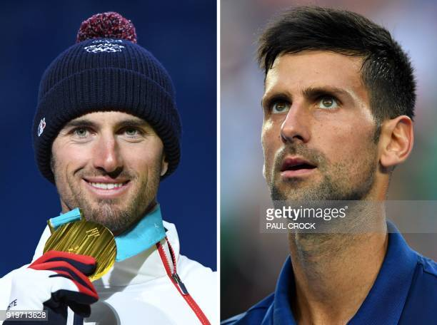 Combination photo made on February 18 2018 shows France's snowboard cross gold medallist during the Pyeongchang 2018 Winter Olympic Games Pierre...