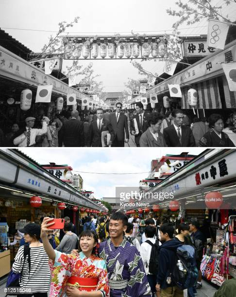 Combination photo shows Nakamise Street in Asakusa Tokyo on Oct 13 celebrating as the host country of the 1964 Tokyo Olympics and the same area on...