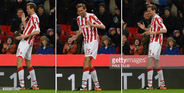 A combination photo shows Stoke City's English striker Peter Crouch do his robot celebration as he celebrates scoring his team's first goal and his...