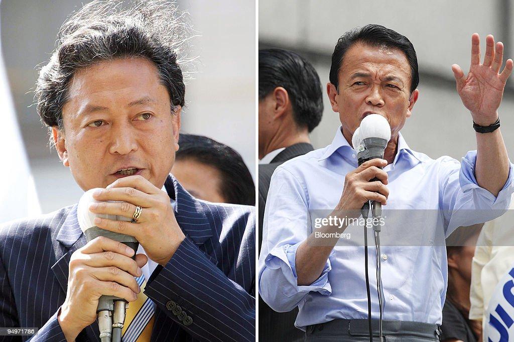 A combination photo shows Taro Aso, Japan's prime minister a : ニュース写真