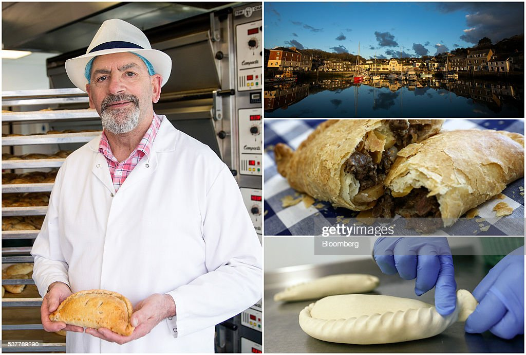 A combination photograph shows Dave Plechowicz, production director of Cornish Premier Pasties Ltd., posing for a photograph with a Cornish Pasty in their bakery in St Columb, Cornwall, U.K., left, boats sitting docked in the harbor in Padstow, top right, a freshly cooked Cornish Pasty sitting on a table, center right, and an employee crimping a Cornish Pasty as they move down the production line of the Cornish Premier Pasties Ltd. in St Columb, Cornwall, U.K., on Thursday, April 28, 2016. Cornish Pasties are one of the U.K.'s food products that are protected against imitation throughout the European Union under regulations that recognize regional and traditional foods. Photographer: Simon Dawson/Bloomberg via Getty Images