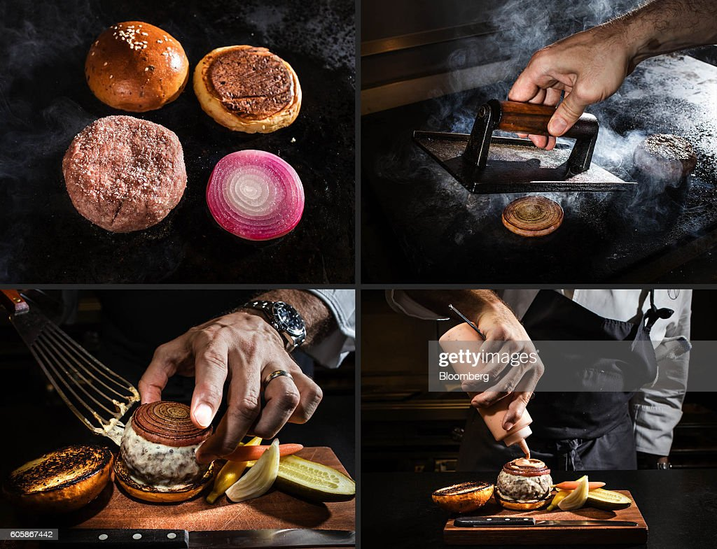 A combination photograph shows the NoMad Burger being made at the NoMad Bar in New York, U.S., on Monday, April 18, 2016. Top chefs pick their all-time favorites, from burgers with fat, mid-rare patties dripping with juice to thin, crisp disks of beef smothered with cheese. These are the ones the true masters crave when they're off duty. Photographer: Eric Medsker/Bloomberg via Getty Images