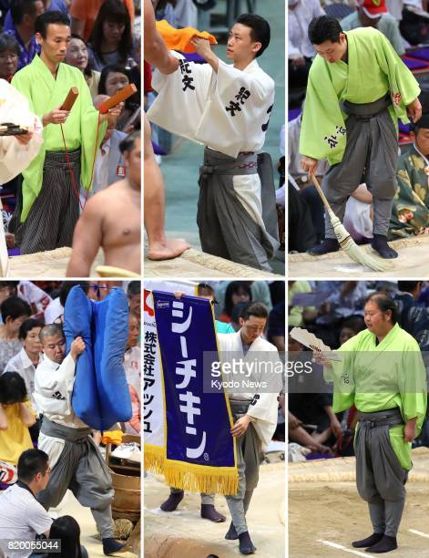 Combination photos taken July 20 at the Nagoya Grand Sumo Tournament in Nagoya central Japan show various tasks undertaken by ushers known in...