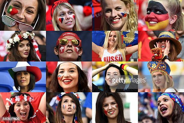 Combination picture made on June 17, 2016 shows women supporters from various countries participating in the Euro 2016 football tournament in France....