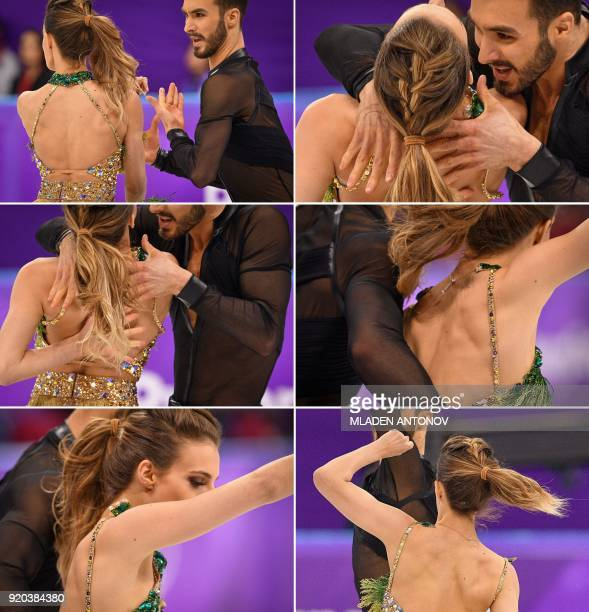 Combination picture shows France's Guillaume Cizeron performing with France's Gabriella Papadakis as the back fastening of her costume cames undone...