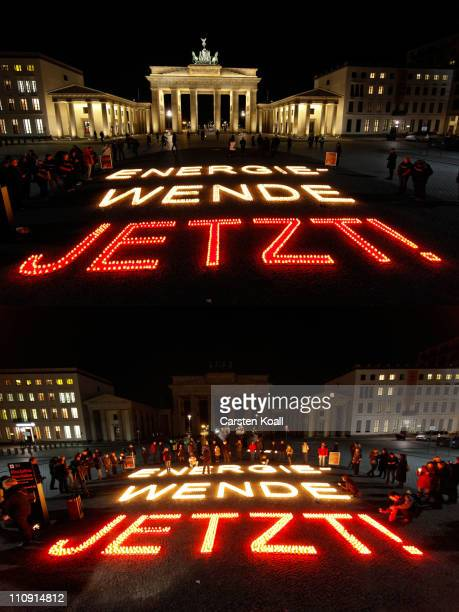 Combination picture shows the Brandenburg Gate before and after the lights are switched off for Earth Hour on March 26 2011 in Berlin Germany Earth...