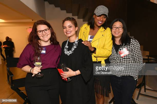 Combinator partner Kat Manalac poses with attendees during Vanity Fair's Founders Fair at Spring Studios on April 12 2018 in New York City