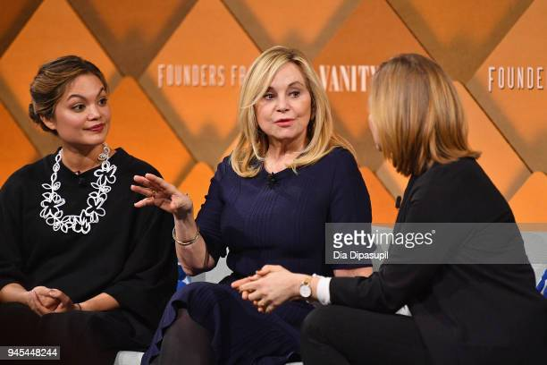 Combinator partner Kat Manalac, The RealReal founder and CEO Julie Wainwright, and Wired senior writer Jessi Hempel speak onstage during Vanity...