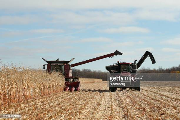 A combine and grain cart during a corn harvest at a farm near Carman Manitoba Canada on Saturday Oct 10 2020 Costs of staples slumped at the start of...